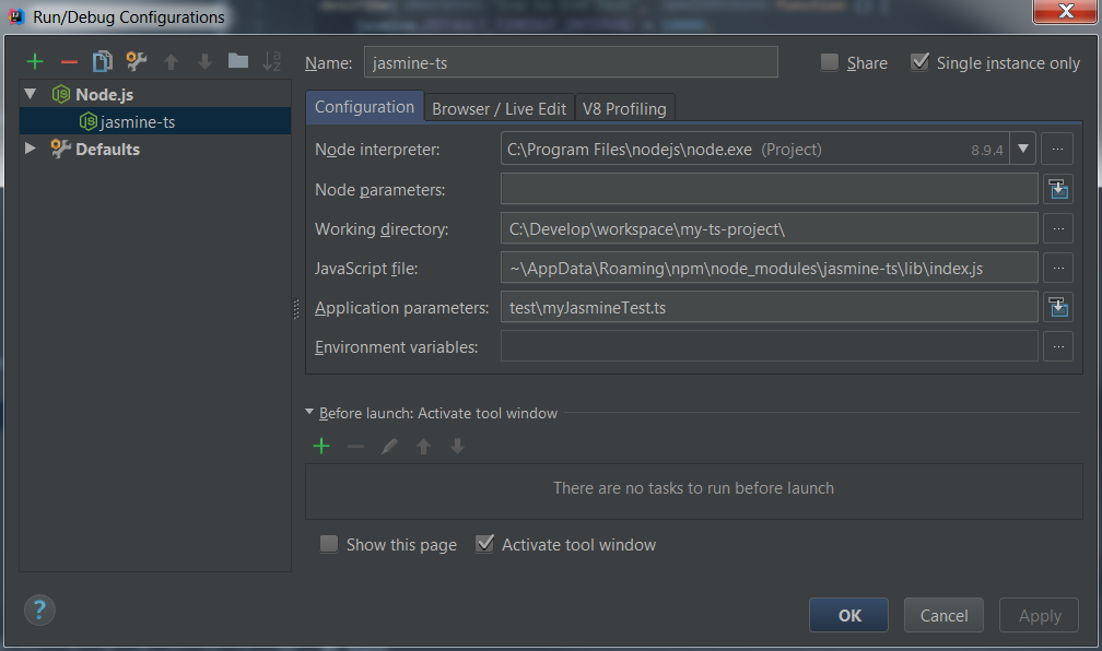 jasmine-ts debug from IntelliJ